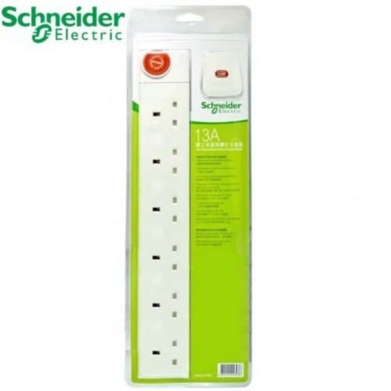 Schneider 6 Socket 3Pin Flat  13Amp  Extension Power Cord with 3m Cable